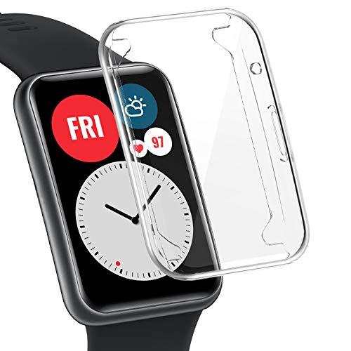 CAVN Protector de pantalla compatible con Huawei Watch Fit, [1 Pack] Cubierta Protectora de Marco a los rasguños TPU Protector de Pantalla de Cobertura Total para Huawei Watch Fit