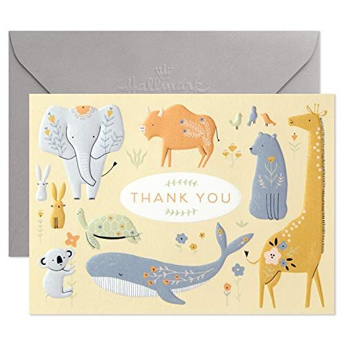 Hallmark Baby Shower Thank You Cards, Painted Animals (20 Cards with Envelopes for Baby Boy or Baby Girl) Elephant, Koala, Giraffe, Whale, Turtle, 5STZ5115
