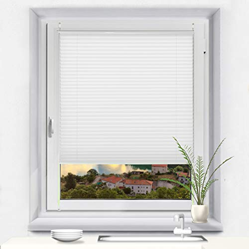 OUBO Plissee Klemmfix Faltrollo ohne Bohren Jalousie mit Klemmträger (Weiß, B90cm x H100cm) Blickdicht Sonnenschutz und Sichtschutz Rollo für Fenster & Tür