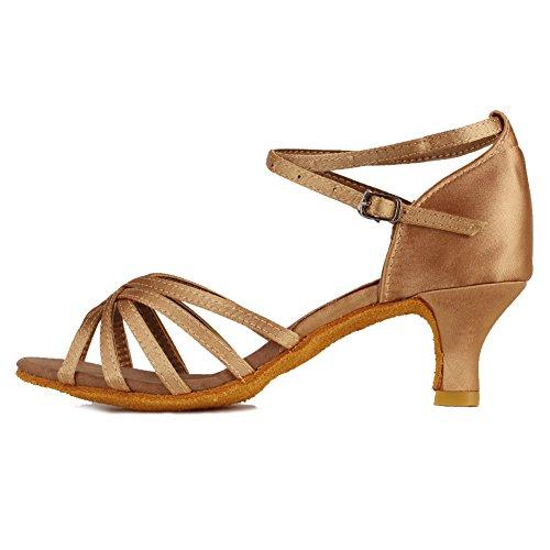 HROYL Damen Tanzschuhe/Latin Dance Schuhe Satin Ballsaal Modell-D5-213 Beige 38 EU