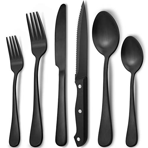 48-Piece Matte Black Silverware Set for 8 by Hiware, Stainless Steel Flatware Set with Steak Knives, Hand Wash Recommended