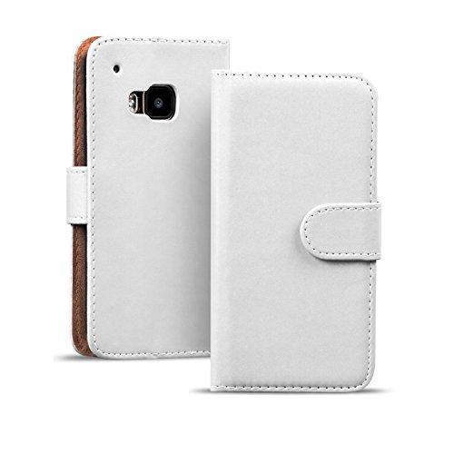 Verco One M9 Hülle, Handyhülle für HTC One M9 Tasche PU Leder Flip Hülle Brieftasche - Weiss