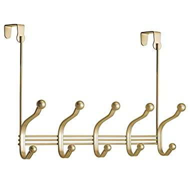 InterDesign York Lyra Over Door Storage Rack – Organizer Hooks for Coats, Hats, Robes, Clothes or Towels – 5 Dual Hooks, Gold/Brass