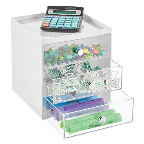 mDesign Schreibtisch Organizer mit 3 Schubladen – Ablagefächer für Stifte, Büroklammern, Notizzettel usw. – kompakte Schubladenbox aus Kunststoff für den Schreibtisch – weiß und durchsichtig