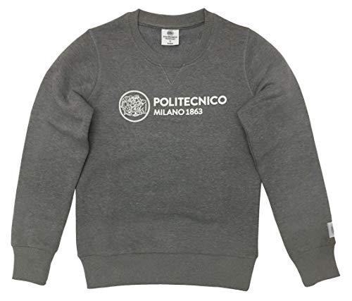 Politecnico Milano 1863, Felpa Linea ISTITUZIONALE Girocollo - Donna (Grigio Scuro, S)