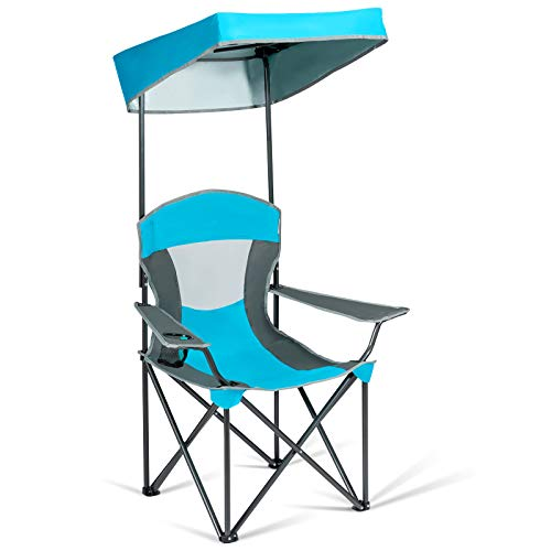 Goplus Folding Canopy Chair, Outdoor Camping Chair w/Cup Holder and Carrying Bag for Beach Park Poolside Patio (Blue)