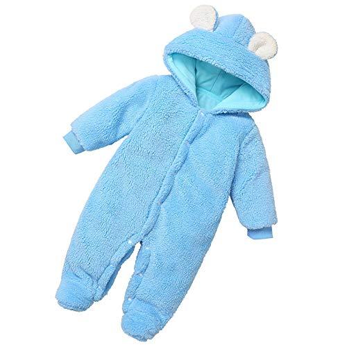 Baby Kapuzen-Strampler Schneeanzug Fleece Niedliche Ohren Winter Warm Overall für Mädchen Jungen Gr. 74, blau
