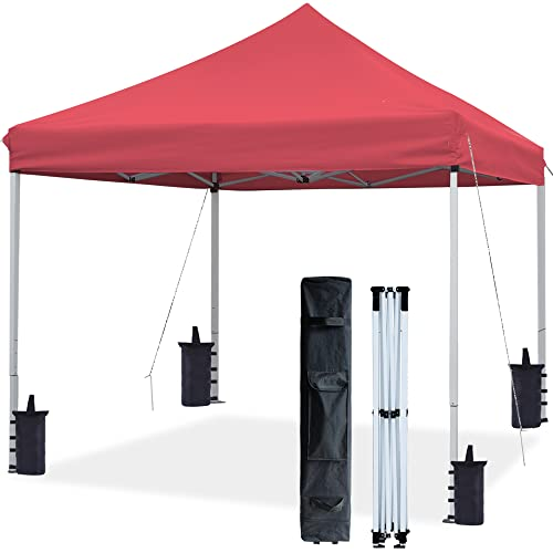 ASTEROUTDOOR 10'x10' Commercial 300 Denier Heavy Duty Pop Up Canopy with Adjustable Leg Heights Wheeled Carry Bag, Sandbags, Stakes and Ropes, Red