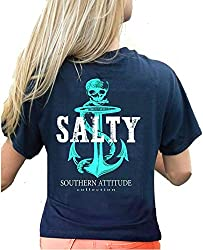 Southern Attitude Pirate Anchor Navy Preppy Women's Short Sleeve Tee Shirt