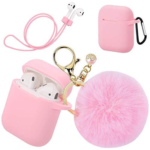 Hängande fodral i silikon med D-låsande karbinhake och pälsboll nyckelring kompatibel med Airpod laddningsfodral – anti-damm stöttålig silikonskal hörlurar tillbehör (rosa)