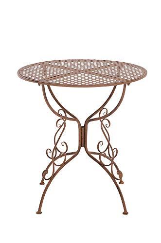 CLP Eisentisch Amanda im Jugendstil I Robuster Gartentisch mit kunstvoll verzierten Tischbeinen I erhältlich, Farbe:antik braun