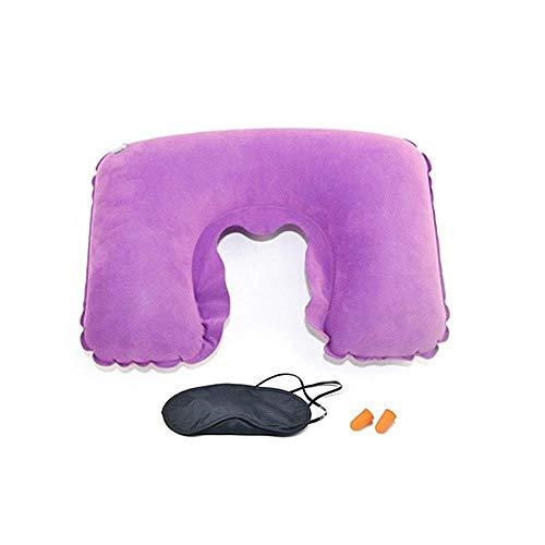 Alberta Apoyacabezas del Asiento 3 Vuelo Coche Inflable del Recorrido Resto del Cuello del cojín Almohada T-Rojo Color de Rosa Cojín de Apoyo para el Regreso (Color : Purple)