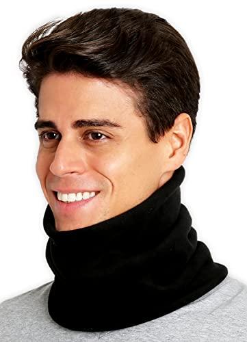 Neck Warmer - Winter Fleece Neck Gaiter & Ski Tube Scarf for Men & Women - Cold Weather Face Cover, Mask & Shield for Running, Skiing, Snowboarding - Ultimate Comfort, Thermal Retention (Black)