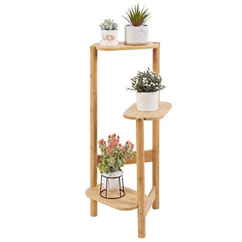 medla Estantéría para Flores Plantas, Soporte Decorativo para Macetas con 3 Niveles, Escalera Pala Flores de Bambú para Interior Exterior Salón Jardín Patio Balcón 32x75 cm, Color de Madera