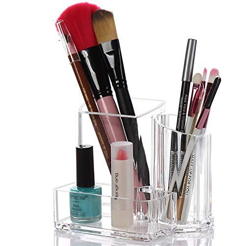 zhipeng Caja de Almacenamiento de Compartimiento cosmético Transparente Multifuncional 3 para cepillos de Dientes Joyas Maquillaje Pincel Lápiz Labial Tijeras y Tarjeta de Visita hsvbkwm