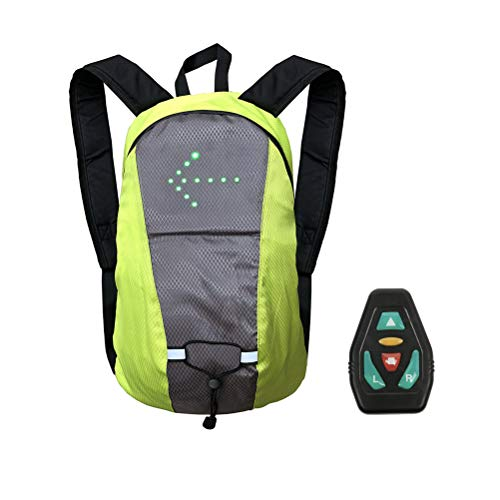 Diantai LED Bike Backpack with LED Signal Indicator Reflective Vest Backpack Safety Sports Backpack Wireless Remote Control Daypack for Outdoor Travel Hiking
