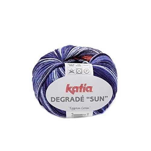 Katia Degrade Sun 251, Baumwolle zum Stricken und Häkeln, Baumwollgarn mit Farbverlauf blau rot