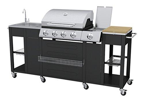 vidaXL 40426 Barbecue Gas-Grill 2900W Schwarz, Edelstahl, Barbecue & Grill