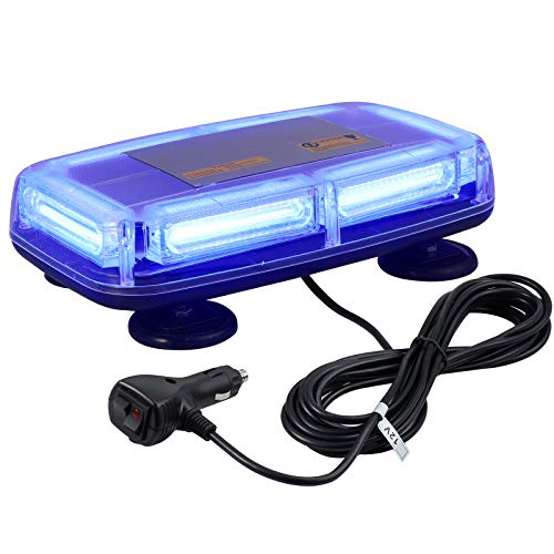 6-COB LED Luz de Advertencia con Parpadeo 7 Modos Luz Estroboscopica de Emergencia Base Magnetica IP67 Impermeable con Interruptor para 12V / 24V Automóvil Remolque Camión Caravana-Azul