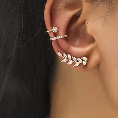 XIAOMAI Pendientes de Oreja de Diamantes de imitación de Cristal sin Piercing Bohemio para Mujer, Pendientes de Clip de botón Envolvente, Pendientes de Moda para Chica, joyería