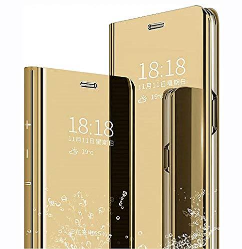 LINER Funda para Xiaomi Redmi Note 10 Pro Estuche, Espejo Carcasa Ultra Slim Ligero Flip Libro Funda Clear View Standing Cover Mirror PC + PU Protectora Bumper Soporte Plegable Case - Oro