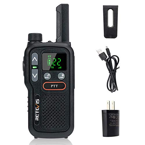 Retevis RB18 Walkie Talkie Rechargeable,Outdoor 2-Way Radios for Adult,Small NOAA Weather Alert Flashlight Dual PTT Lock VOX,for Hiking Camping Cruise Ship (1 Pack)