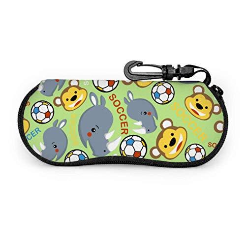 Fundas de gafas Jugador de fútbol divertido mono Ultra Ligero Neopreno con Cremallera Almacenaje Lente Suave Sunglasses Case 8 * 17cm