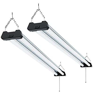 Sunco Lighting 2 Pack Industrial LED Shop Light, 4 FT, Linkable Integrated T8 Fixture, 40W=260W, 6000K Daylight Deluxe, 4000 LM, Surface + Suspension Mount, Pull Chain, Garage Light - Energy Star