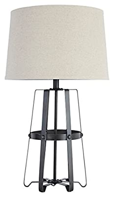 Signature Design by Ashley - Samiya Metal Table Lamp - Industrial - Riveted Accents - Antique Black