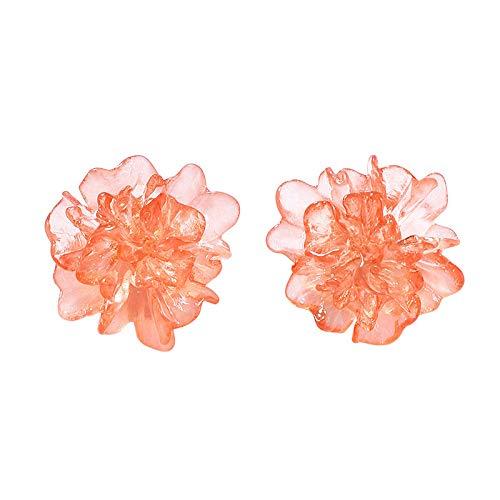 JIAJBG Pendientes Uñas Blancas Arete Clip de Oreja Línea de la Oreja Centavos para Los Oídos Joyería Regalo Flor Irregular la Resina Transparente Corea 2020 Claro Naranja Mujer Verano Pend