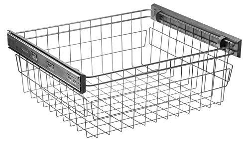 GTV Soft close pull out wardrobe wire basket, Shoe rack, Trouser drawer, Ties hanger (Wire Basket, 600 mm - internal dim. 560-568 mm)
