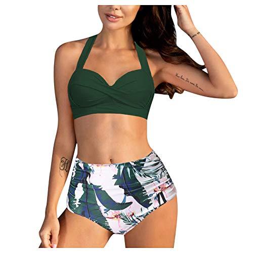 DoeRal Damen Neckholder Halter Bikini Hohe Taille Print Split Bademode Zweiteiliger Badeanzug