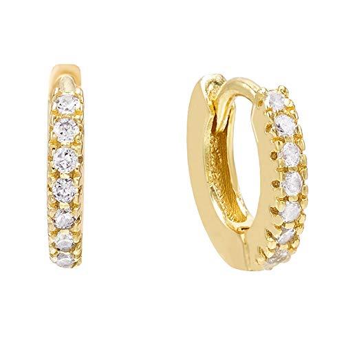 Brandlinger ® Atelier pendientes de aro de plata de ley dorada con piedras de circonio para mujeres y niñas. Tamaño 10mm