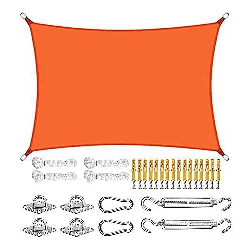Toldo con protección solar, cuatro esquinas 4x7m, resistente al agua 98% bloqueador UV toldo con protección solar, kits de fijación de cuerda para acampar en fiestas en el patio al aire libre,Orange