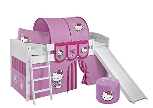 Lilokids Spielbett IDA 4106 Kitty Teilbares Systemhochbett weiß-mit Rutsche und Vorhang Kinderbett, Holz, Hello kittty rosa, 208 x 220 x 113 cm