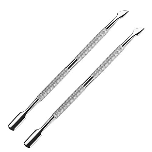 WIFUN 2 Pieces Stainless Steel Dual tool Cuticle Pusher Dual Head Nail Pusher Spoon tool for UV Nail Cuticle Clean or Remove Gel Polish(Silver)