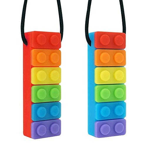 JUHONNZ Masticar Collar,2 PCS Mordedor Collar Silicona Collar para Dentición Collar Sensorial Colgante Masticable Autism Bloques para Niños con TDAH Dentición Ansiedad Autista Necesidades de Morder