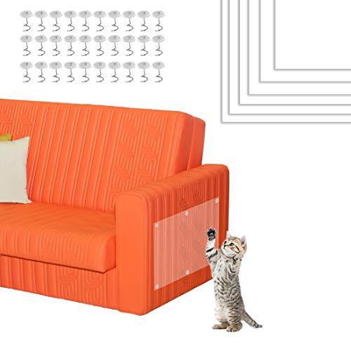Bluelves Kratzschutz Katze, 6 Stück Kratzschutz Sofa Möbelschutz, Anti Kratzschutz Set für Katze Hund, Katzen Couch Schutz, Transparent Katze Klebeband Sofaschutz, für Möbel, Tür, Sofa, Wand