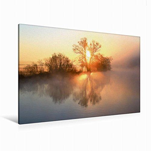 Premium Textil lienzo 120 cm x 80 cm horizontal, un motivo del calendario místico Momentos – Neblina en el reloj de pared cuadro sobre luz y colores suaves (CALVENDO Natur);CALVENDO Naturaleza