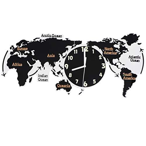 GARNECK Creativo Decorazione della Casa Orologio da Parete Mappa del Mondo Forma Materiale Acrilico Orologio da Parete Muto Decorazione della Parete Luminosa di Alta qualità (31. 5X17.