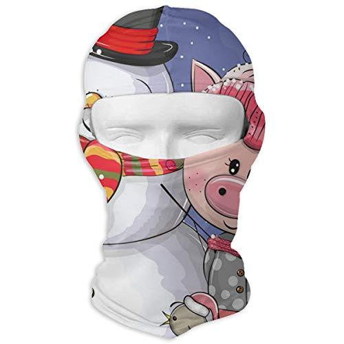 N/Een Volledig Gezicht Masker Schattig Varken In Een Gebreide Cap En Sneeuwman Hood Zonnebrandcrème Masker Dubbele Laag Koud Voor Mannen En Vrouwen