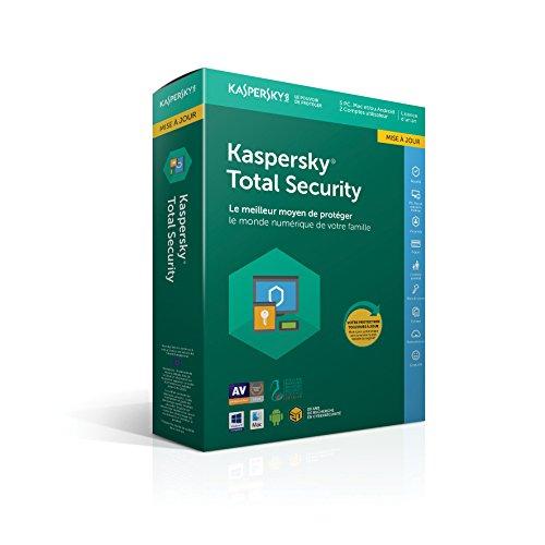 Kaspersky Total Security Mise à jour|2018|5 appareils|1 An|Ordinateurs/Tablettes Windows/Android/Mac/Smartphones|Téléchargement