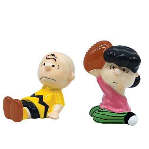 Department 56 Peanuts Ceramics Charlie Brown and Lucy van Pelt Salt and Pepper Spice Shaker Set, 3.25 Inxh, Multicolor