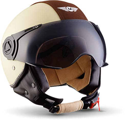 "Moto Helmets® H44 ""Vintage Creme"" · Jet-Helm · Motorrad-Helm Roller-Helm Scooter-Helm Bobber Mofa-Helm Chopper Retro Cruiser Vintage Pilot Biker · ECE Visier Schnellverschluss Tasche L (59-60cm)"