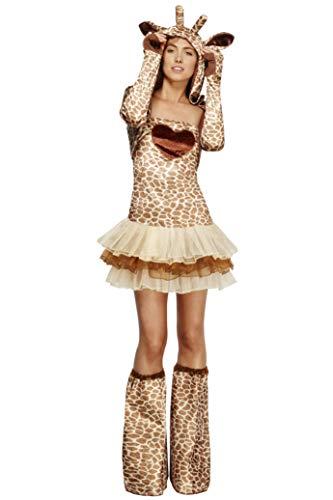 Koorts volwassen vrouwen Giraffe kostuum, Tutu jurk met afneembare duidelijke banden, jas en laarzen, dierlijke aanval