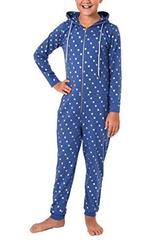 Meisjes pyjama eendelig jumpsuit overall lange mouwen - stip design - 467 90 001, Kleur: blauw, Maat: 164
