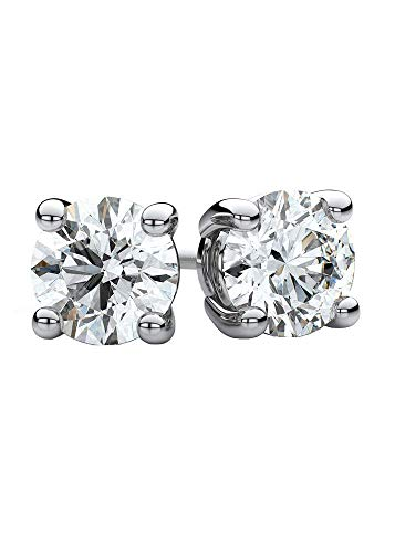 Round Diamond Stud Earrings CVD-Lab Created.23 to.28ct(G-H-VS-SI)14K Solid Gold & Sterling Silver Mount