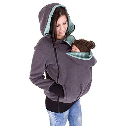 Gsaknc Tragejacke Umstandsjacke/Babytrage Umstandsjacke,2 in 1 Baumwolle Känguru Softshell Umstandsmode Fleecejacke mit Kapuze