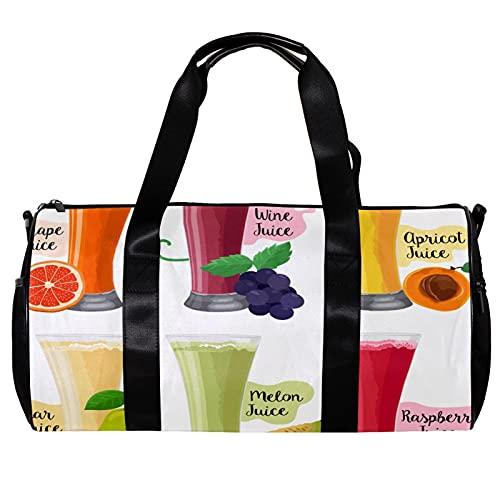 Bolsa de deporte redonda con correa de hombro desmontable para jugo de frutas ilustraciones de entrenamiento bolso de noche para mujeres y hombres