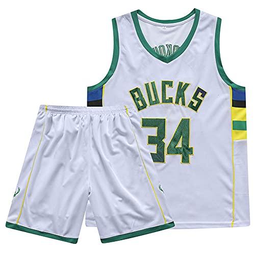 ZRHZB Camiseta de Baloncesto de La NBA Milwaukee Bucks Giannis Antetokounmpo # 34 Camiseta Pantalones Cortos Traje de 2 Piezas para El Entrenamiento Deportivo de Los Fanáticos Traje de 2 Piezas,S